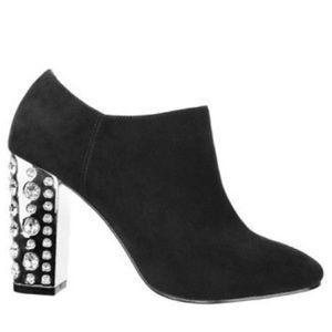 Shoes - Rhinestone studded heel black booties